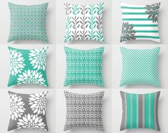 pillow covers throw pillow covers turquoise grey white spring pillow covers mix and
