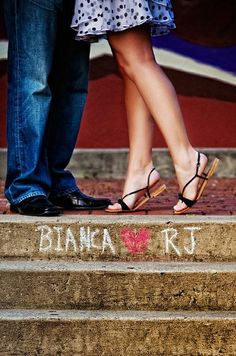 "This pic but with heels on, cute for ""save the dates"" -- could wear shoes to match color of wedding"
