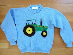 Oringinal Vintage Hand Knit John Deere Tractor Sweater for Children Blue, Green, Yellow