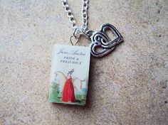 Pride and Prejudice Necklace with Book Charm and Intertwined Hearts Charm on Etsy, $12.99