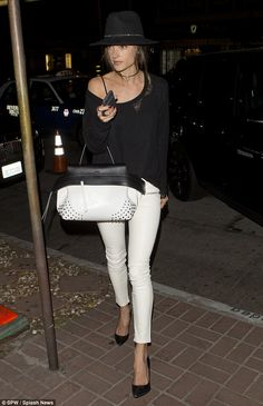 Casual stunner: Alessandra Ambrosio, 34, looked gorgeous in a casual monochrome outfit as ...