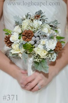 Winter Bouquet featuring pine cones and dusty miller. - from Gatlinburg's Little Log Wedding Chapel