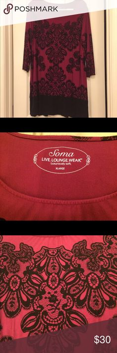 Soma Live. Lounge. Wear.  Tunic sized XL Soma Live. Lounge. Wear.  Tunic sized XL but fits large, can be worn by someone who wears XL - XXL.  Very soft and comfy.  Looks great with skinny jeans or leggings.  A pink/violet color.  Washed, but only worn once.  Open to offers. Soma Tops Tunics