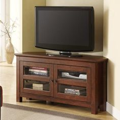 Walker Edison Comer TV Console, Brown