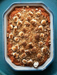 This sweet potato casserole is an especially festive, over-the-top take on the Thanksgiving classic, topped with a crisp pecan crumble and dotted with marshmallows.