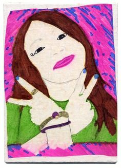 Art Projects for Kids: perm marker self-portrait, traced on wax paper which is glued on a canvas 4th grd