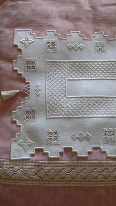 This Pin was discovered by tuğ Hardanger Embroidery, Embroidery Patterns, Hand Embroidery, Stitch Patterns, Drawn Thread, Bargello, Irish Lace, Cutwork, Embroidery Techniques