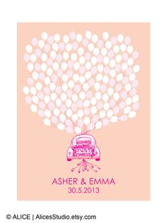 Guest Book Ideas for Wedding - Hand Drawn Just Married Wedding Car Guest Book Poster Print - Wedding Guest Book