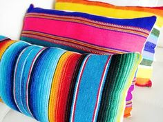 Mexican serape pillows made by Sara Kelley. I NEED these for my trailer! Mexican serape pillows made by Sara Kelley. I NEED these for my trailer! Mexican Bedroom, Mexican Home Decor, Mexican Decorations, Southwest Decor, Southwest Style, Mexican Patio, Santa Fe Style, Mexico Style, Colors