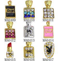 10ピース/ロットグリッター女性purfumeボトル形状の3dネイルの魅力宝石石ラインストーン合金ネイルアートの装飾ネイルジュエリー用品