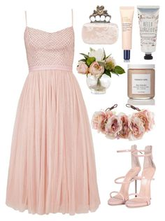 """Untitled #5009"" by prettyorchid22 ❤ liked on Polyvore featuring Needle & Thread, Alexander McQueen, Estée Lauder, French Girl, Rock 'N Rose and Giuseppe Zanotti"