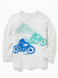 Old Navy Toddlers' Graphic Long-Sleeve Tee Motorbike Race Size Toddler Boy Outfits, Toddler Boys, Kids, Biker Baby, Graphic Tees, Graphic Sweatshirt, Shop Old Navy, Space Shuttle, Boys Shirts