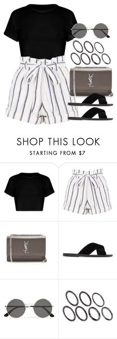 """Sin título #13043"" by vany-alvarado ❤ liked on Polyvore featuring Topshop, Yves Saint Laurent, Ancient Greek Sandals and Pieces"