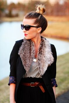 cat eyed sunglasses, fur and a touch of floral. so cute!