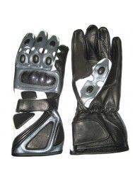 Men's Best Leather Grey & Black Biker Gloves
