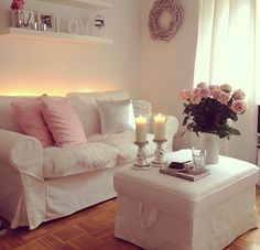 #Looking for some inspirational ideas for your #lounge #renovation project - all in white with pale pink cushions and roses, so pretty.. http://www.myrenovationstore.com