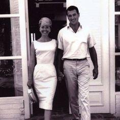 Rock Hudson and Doris Day at her Malibu beach house