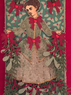 Paper Doll Tag Swap 2016/Christmas Carol: The Holly and the Ivy. Character Constructions Art Stamps. Artwork by Dawn Kosec.