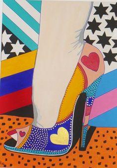 "Allesandra Tiller   ""Pink Stripe"" 2016 70 x 100 cm - Acryl auf Leinwand"