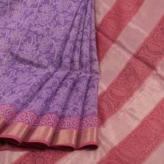 Buy online Hand Block Printed Lavender Maheshwari Silk Cotton Saree With Floral Motifs, Zari Border & Chatai Box Prints 10013985