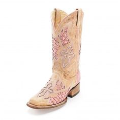 Corral Rodeo Pink Cross and Wings Cowgirl Boots - Womens Fashion Boots - Womens Boot Styles - Cowgirl Boots - Boots #CowboyCupidBeMine