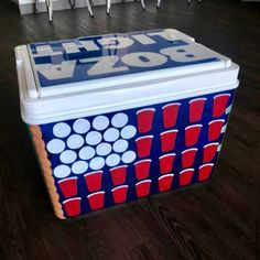 COOLERSbyU Painted Cooler Examples | United States of Beer Pong | Tags: united states, flag, beer pong flag, cooler Painted Fraternity Coolers, Frat Coolers, Painted Coolers, Total Sorority Move, Total Frat Move, Diy Cooler, Beer Cooler, Formal Cooler Ideas, Online Shopping For Boys