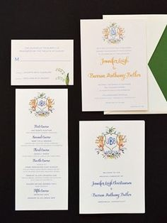 Gold Foil Watercolor Crest Wedding Invitations via Oh So Beautiful Paper: http://ohsobeautifulpaper.com/2014/06/jennifer-barrons-gold-foil-watercolor-crest-wedding-invitations/ | Design + Photo: Roseville Designs | Watercolor Crest: Happy Menocal | Printing: StationeryHQ