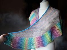 Soft rainbow shawl unique crochet shawl by TinyOrchidsCrochet