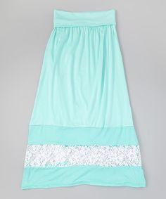 Look at this #zulilyfind! Btween Mint Lace-Detail A-Line Skirt by Btween #zulilyfinds