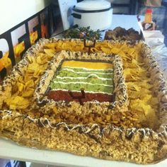 The ultimate Superbowl Food! Entire Stadium made of rice crispies, chips, guacamole, salsa, queso dip and slim jims. all available at your NEX! Football Snacks, Food Displays, Chex Mix, Game Day Food, Creative Food, Yummy Food, Tasty, Food Porn, Food And Drink