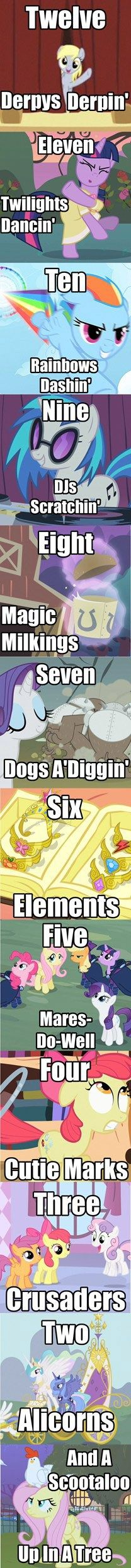 oh, the twelve days of ponies.LOL I like this song WAY better then the original !!! XD
