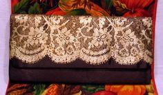 Deep Brown Black Satin & Golden Lace Embellished Evening Bag Clutch #Unbranded #EveningBag