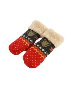 Christmas-style Folded-cuffs Jacquard Gloves