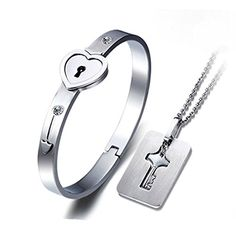 7th Element Stainless Steel Bracelet Love Heart Lock Bangle Key Pendants Necklace >>> See this great product.