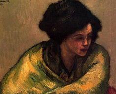 """Isidre Nonell Monturiol (1873 - 1911). """"Lola, 1909"""". Óleo sobre lienzo. 59 x 72 cms. Colección particular, Barcelona. España."""