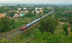 ED WAP4 #22222 leads Tamilnadu Express. Perfect Aerial Shot!