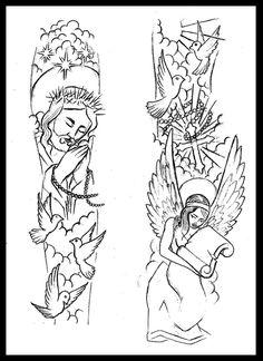 Religious sleeve tattoo design by thirteen7s