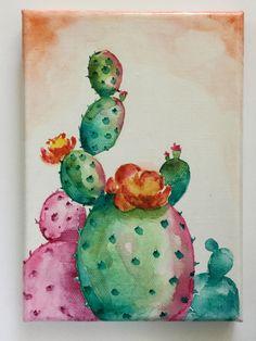 Original Artwork Watercolor on Canvas Blooming Cactus