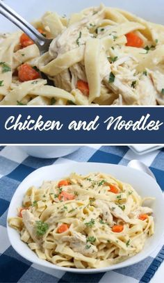 This Chicken and Noodles Recipe is loaded with egg noodles, tender chicken, and a creamy sauce, making it a hearty dish everyone loves! Noodle Recipes, Pasta Recipes, Cooked Carrots, Yummy Chicken Recipes, My Favorite Food, Favorite Recipes, Stuffed Whole Chicken, Boneless Chicken Breast, Egg Noodles