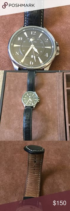 Men's Bulova Watch Men's Bulova Watch with leather straps, stainless steel & water resistant. Just needs a battery since it's just been in the jewelry box for a long time Bulova Accessories Watches