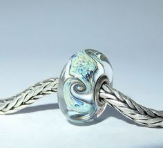 Luccicare Lampwork Bead - Twist -  Lined with Sterling Silver by Luccicare on Etsy
