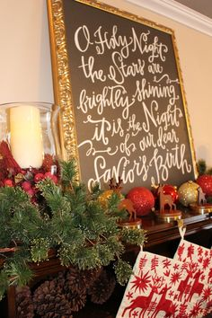 Simple Mantel Design with No Fireplace thanks to Red Envelope and ProFlowers #PFDecorates #DeckTheHalls #ad