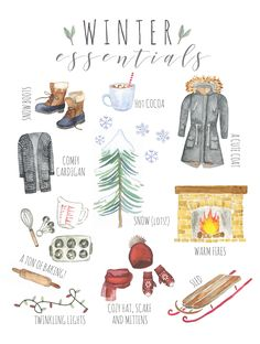A New Season with a Winter Essentials Printable - Inspiration For Moms Welcome the beautiful snowy season with this Winter Essentials printable art.Welcome the beautiful snowy season with this Winter Essentials printable art. Winter Essentials, Winter Love, Winter Is Coming, Welcome Winter, Winter Ideas, Winter Snow, Hygge, Capsule Wardrobe Winter, Guache