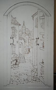 Рисунок обманка - окно. Сергей Судаков Фото этапов работы. Высота рисунка 1.6 метра, выполнялся на холсте. После рисунок вырезается по контуру и будет приклеен в нишу такого же размера. Холст, акрил,масло.