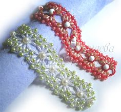 Pattern bijoux: Bracciale Openwork...really good pictures to follow!...I can do this!..these are beautiful beaded bracelets!