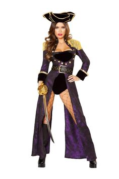 Look sophisticated and hot in this Deluxe Pirate Queen Costume Set featuring a four piece set including a velvet strapless romper, a long coat with button detailing and shoulder fringe with zipper closure, a matching belt, and a pirate hat. Sexy Pirate Costume, Queen Halloween Costumes, Queen Costume, Halloween Party, Pirate Halloween, Pirate Costumes, Christmas Costumes, Halloween Makeup, Cosplay Costumes