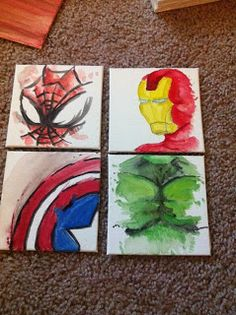 Watercolor Superhero Coasters. Now that would be awesome on small canvas in my Preston's room.