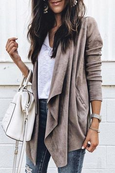 2018 Autumn Suede Faux Coat Womens Leather Jackets Femme Asymmetrical Lapel Coats Cardigans Female Blazer Streetwear Outwears Size S Color Camel Cardigans For Women, Coats For Women, Jackets For Women, Georgia, Fall Outfits, Casual Outfits, Casual Wear, Outfit Winter, Women's Casual