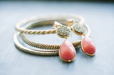 coral + gold wedding jewelry // photos by Jenna Leigh // View more: http://ruffledblog.com/historic-pabst-brewery-wedding/
