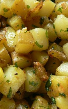 Garlic Roasted Potatoes Recipe- tried them at about 2/3 the recipe. Very yummy. Baked at 400 for about 30 (very small cubes) and use Yukon gold potatoes